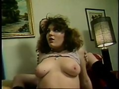Busty Lesbian Babe Gets Fucked and Creampied in an Amateur Retro Orgy
