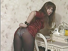 Kathryn in pantyhose and panties