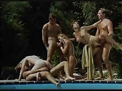 Sexy retro orgy poolside is hot stuff