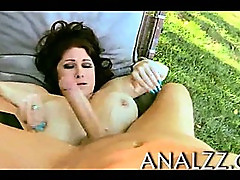 Gorgeous busty Milf Tiffany Mynx oily asshole fucked outdoors